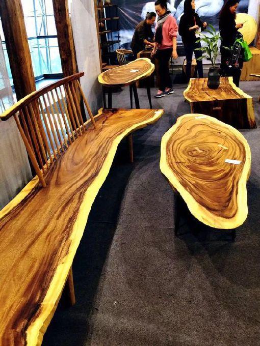 南美胡桃木实木大板餐桌胡桃木原木家具餐桌 南美花梨实木餐桌椅示例图26
