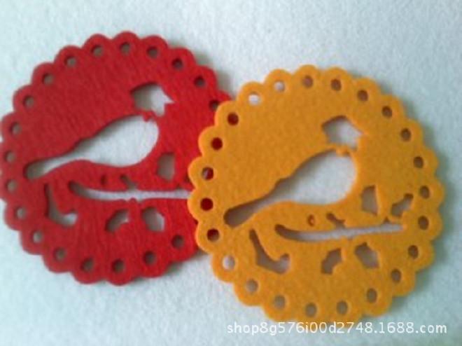 供应毛毡杯垫彩色隔热垫 吸水防滑餐垫镂空杯垫 颜色图案可定制示例图10