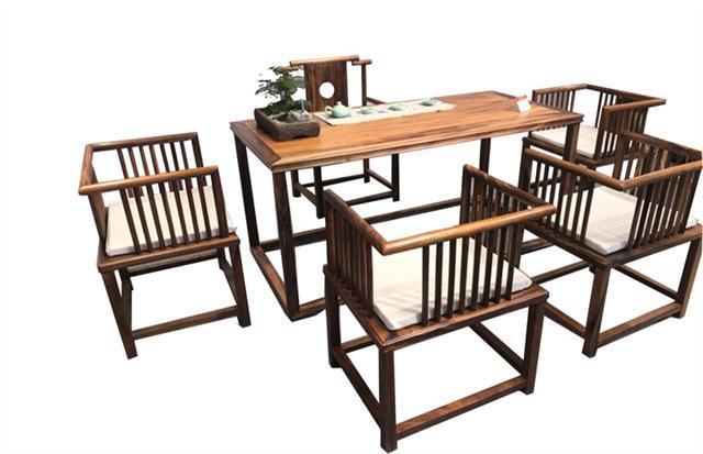 南美胡桃木茶桌六件套168*68*72可拆卖现代简约茶几竞技宝和雷竞技哪个好茶桌组合示例图14