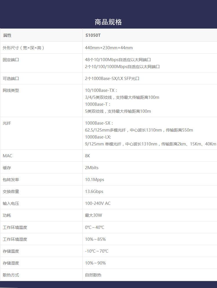 华三(H3C)S1050T 千兆上行交换机示例图3