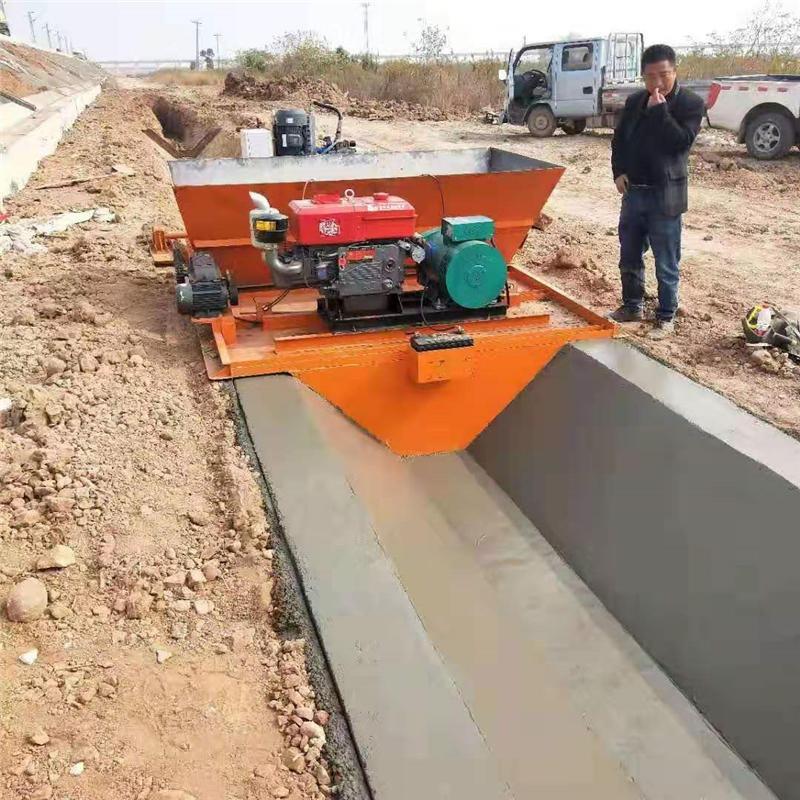 供应水渠成型机 现浇式渠道衬砌机 钢丝绳牵引渠道成型机