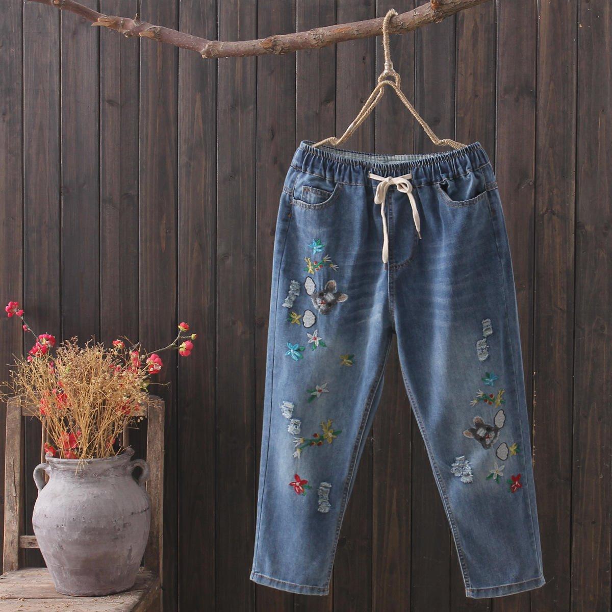 2019春装新款牛仔裤女高腰百搭显瘦老爹牛仔裤一件代发阔腿哈伦裤