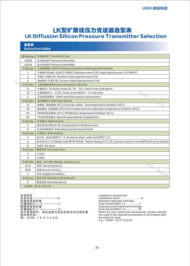 擴散硅壓力變送器 2088 壓力傳感器 遠傳4-20mA 研發生產廠家聯控科技示例圖5